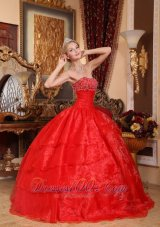 Pretty Red Quinceanera Dress Appliques Organza