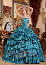 Popular Teal Quinceanera Dress Appliques Pick-ups Strapless
