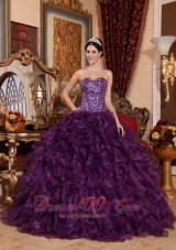 Cheap Dark Purple Quinceanera Dress Sequins Ruffles Organza