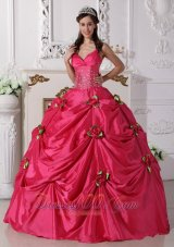 Hot Pink Quinceanera Dress Spaghetti Straps Hand Flowers