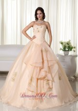 Champagne Floor-length Quinceanera Dress Beading Embroidery