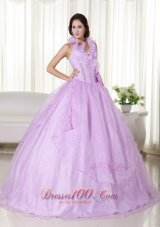 Lavender Quinceanera Dress Halter Embroidery Beading