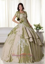 Olive Green Hand Flowers Taffeta Appliques Quinceanera Dress