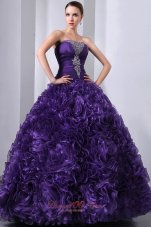 Purple A-Line Hand Flowers Quinceanea Dress Beading