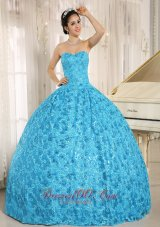 Blue Embroidery Sequins Sweetheart Quinceanera Dress