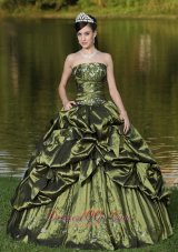 Olive Green Quinceanera Dress Beading Strapless Pick-ups