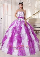 Coloful Quinceanera Dress Appliques Ruffle Sash