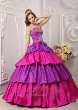 Colorful Layer and Appliques Quinceanera Ball Gown