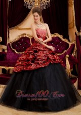 Sexy 2013 Red and Black Zebra Print Quinceanera Gown Dresses