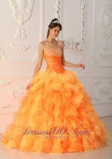 Lovely Light Orange Ruffles Sweet 15 Dresses Beading
