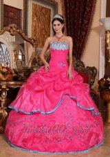 Rose Pink Quinceanera Dress Strapless Organza Appliques