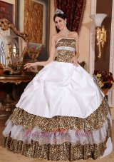 White Clearance Quinceanera Dress Strapless Leopard Beading