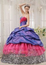 Exclusive Quinceanera Dress Taffeta Zebra Strapless Beading