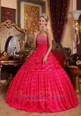 Red Quinceanera Dress Strapless Roling Flowers Beading