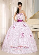 White Organza Strapless Quinceanera Dress With Embroidery