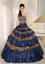 Leopard Ruffled Layers Appliques Beaded Quinceanera Dress