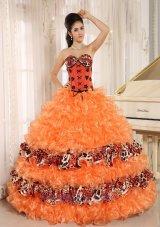 Orange Ruffles Appliques Sweetheart Quinceanera Dress Leopard