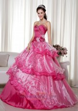 Sweetheart Taffeta Organza Beading Floral Quinceanera Dress