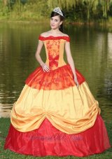 Colorful Shoulder Neckline Quinceanera Dress With Appliques