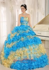 Stylish Multi-color Quinceanera Dress Ruffles Appliques