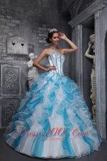 White Sky Blue Quinceanera Dress Sweetheart Taffeta Organza