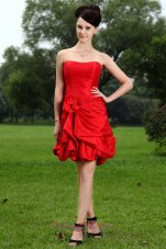 Hand Flower Red Mini Homecoming Dress with Pick-ups