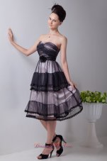 Tulle Layered Black Tea-length Flower Homecoming Dress
