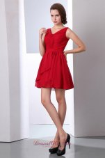 V-neck Wine Red Chiffon Prom Dress Mini-length Ruched
