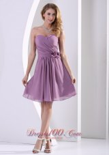 Purple Chiffon Hand Made Flower Bridesmaid Dama Dresses