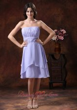 Lilac Strapless Chiffon Ruched Bridesmaid Dama Dresses