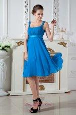 Sky Blue Straps Knee-length Chiffon Prom Dama Dresses