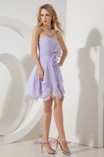 Handkerchief hem Lilac Mini-length Dama Bridesmaid Dresses