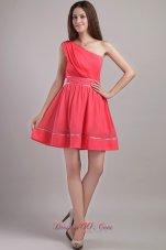 One Shoulder Coral Red A-line Cocktail Dama Dresses