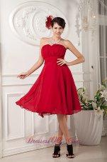 Red A-line Knee-length Chiffon Bridesmaid Dama Dresses