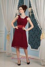 Straps Burgundy Chiffon Beading Knee-length Mother Dresses