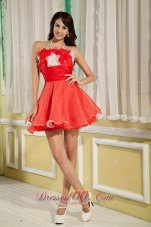 Hand Made Flowers Red Short Cocktail Dama Dress
