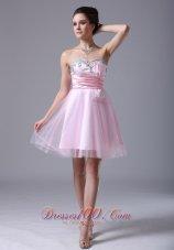 Baby Pink Bow Sash Prom Graduation Dress Tulle Beading Pleated