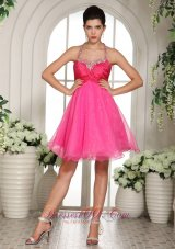 Halter Pleated Hot Pink Prom Homecoming Dress