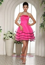 Paty Dress Layered Hot Pink Short Lace Up Back
