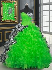 Printed Beading and Ruffles and Pick Ups Vestidos de Quinceanera Lace Up Sleeveless Brush Train