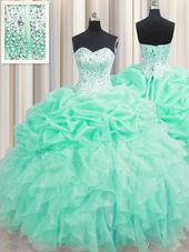 Sweetheart Sleeveless Organza Quince Ball Gowns Beading and Ruffles and Pick Ups Lace Up
