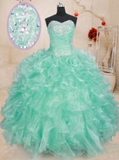 High Quality Sleeveless Lace Up Floor Length Beading and Ruffles 15th Birthday Dress