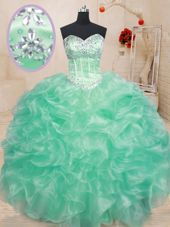 Modern Lace Up Quince Ball Gowns Beading and Ruffles Sleeveless Floor Length