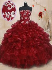 Ruffled Burgundy Sleeveless Organza Lace Up Quinceanera Gown for Military Ball and Sweet 16 and Quinceanera