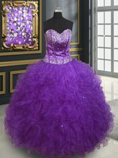 Cheap Eggplant Purple Lace Up Ball Gown Prom Dress Beading and Ruffles Sleeveless Floor Length