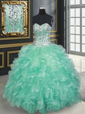 Sweetheart Sleeveless Organza Quince Ball Gowns Beading and Ruffles Lace Up