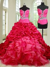Vintage See Through Coral Red Sweetheart Lace Up Beading and Ruffles and Pick Ups Quinceanera Gown Chapel Train Sleeveless