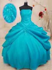Ball Gowns Quinceanera Gowns Teal Strapless Taffeta Sleeveless Floor Length Lace Up