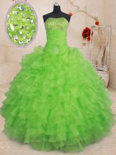 Popular Floor Length Lace Up Ball Gown Prom Dress for Military Ball and Sweet 16 and Quinceanera with Beading and Ruffled Layers