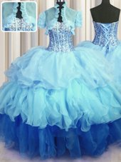Beauteous Visible Boning Bling-bling Beading and Ruffled Layers Sweet 16 Dress Multi-color Lace Up Sleeveless Floor Length